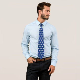 BLUE WITH WHITE WEIMARANER SILHOUETTE TIE