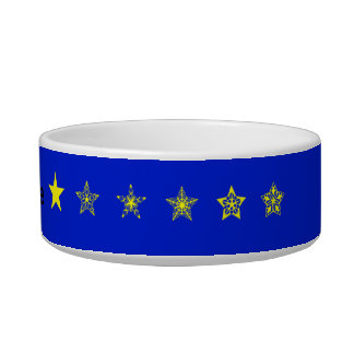 Blue with yellow stars personalised bowl