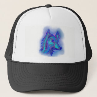 BLUE WOLF BALL CAP/HAT DESIGN TRUCKER HAT