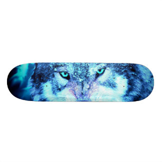 Blue wolf face 20.6 cm skateboard deck