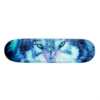 Blue wolf face 20.6 cm skateboard deck