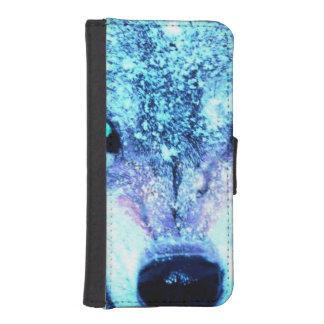 Blue wolf face iPhone SE/5/5s wallet case