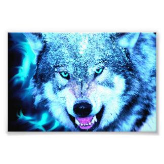 Blue wolf face photo print