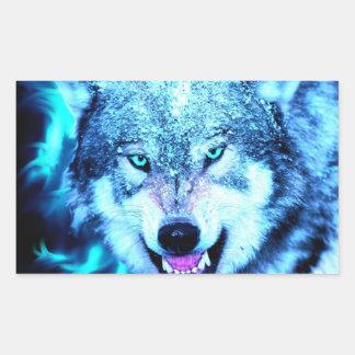 Blue wolf face rectangular sticker