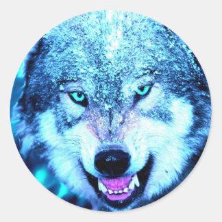 Blue wolf face round sticker