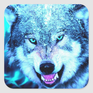 Blue wolf face square sticker