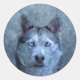 Blue wolf husky classic round sticker