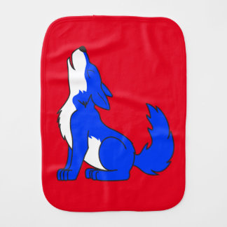 Blue Wolf Pup Howling Baby Burp Cloth
