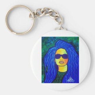Blue Woman Sunglasses by Piliero Basic Round Button Key Ring