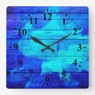 Blue Wood Abstract Painting Square Wall Clock