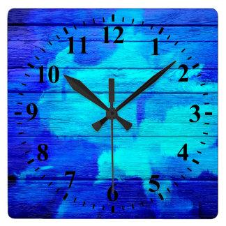 Blue Wood Abstract Painting Wallclock