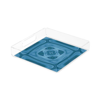 Blue wood abstract pattern acrylic tray