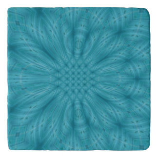 Blue wood abstract pattern trivet