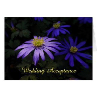 Blue Wood Anemone Flowers Wedding Acceptance Card