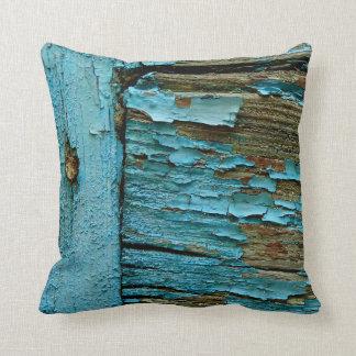 Blue wood pillow. cushion