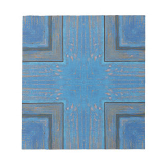 blue wooden background notepad