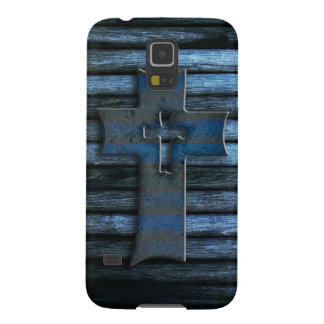Blue Wooden Cross Cases For Galaxy S5