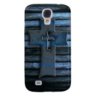 Blue Wooden Cross Galaxy S4 Case