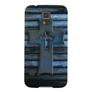 Blue Wooden Cross Galaxy S5 Case
