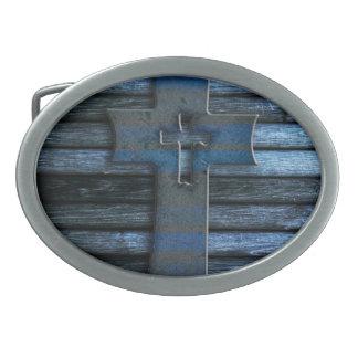 Blue Wooden Cross Oval Belt Buckles