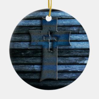 Blue Wooden Cross Round Ceramic Decoration
