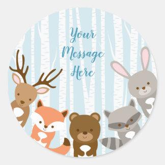 Blue Woodland Animal Baby Shower Classic Round Sticker