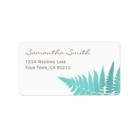 Blue Woodland Wedding Fern Label
