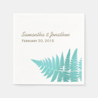 Blue Woodland Wedding Fern Napkins Disposable Napkins
