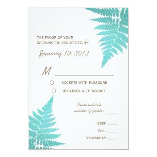 Blue Woodland Wedding Fern with Meal Options 9 Cm X 13 Cm Invitation Card