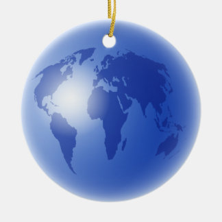 Blue World Globe Christmas Ornament