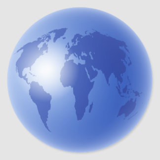 Blue World Globe Classic Round Sticker