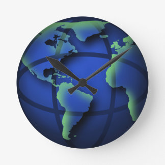 Blue World Globe Cool Medium Round Wall Clock