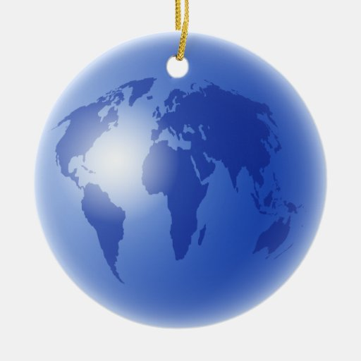 Blue World Globe Ornaments