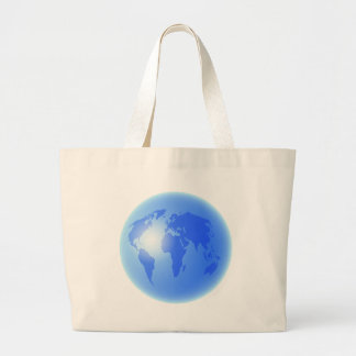 Blue World Globe Large Tote Bag