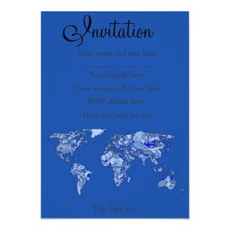 Blue world map 13 cm x 18 cm invitation card
