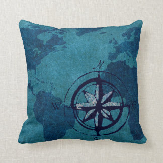 Blue World Map Decor Pillow