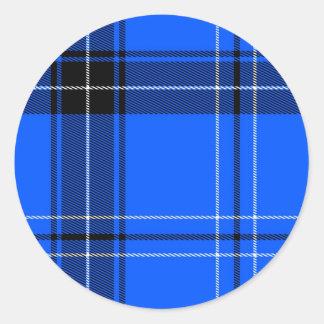 Blue woven tartan pattern round sticker