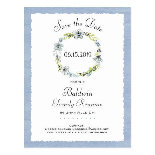 Blue Wreath Country Family Reunion Save the Date