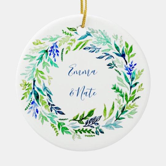 Blue Wreath Monogram Christmas Ornament
