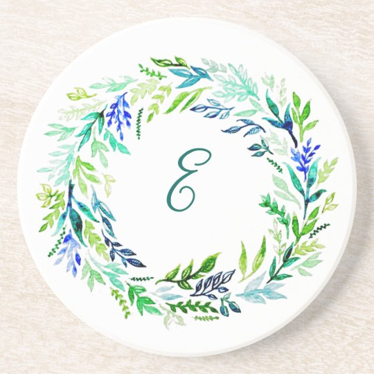 Blue Wreath Monogram Coasters