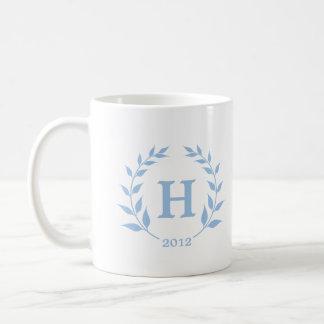 Blue wreath monogram graduation class year basic white mug