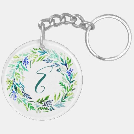 Blue Wreath Monogram Keychain