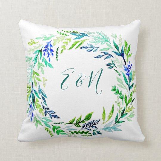 Blue Wreath Monogram Pillow