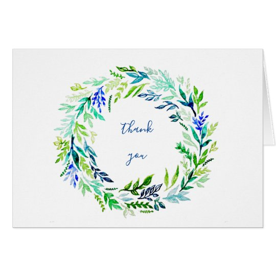 Blue Wreath Thank-You Notes