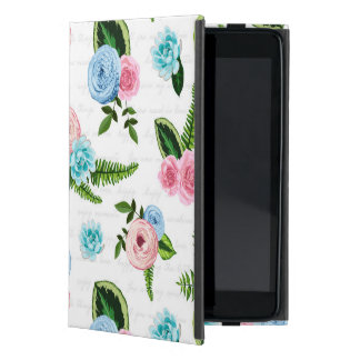 Blue X Pink Flowers on White #2 Case For iPad Mini