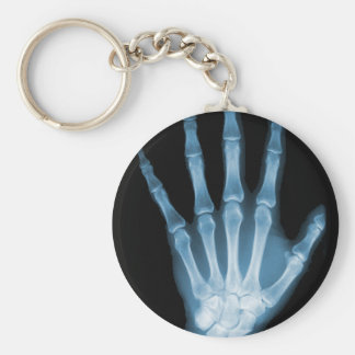 Blue X-ray Skeleton Hand Basic Round Button Key Ring