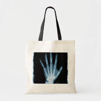 Blue X-ray Skeleton Hand Budget Tote Bag