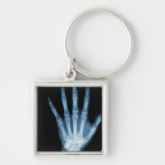 Blue X-ray Skeleton Hand Silver-Colored Square Key Ring