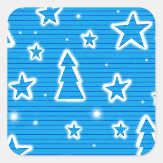 Blue Xmas Square Sticker