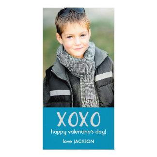 Blue XOXO Valentine Photo Card